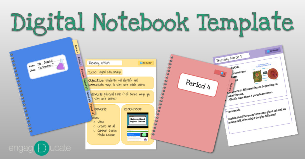 "Graphic that says ""Digital Notebook Template"" at the top with 4 images below. One is a notebook cover with tabs, the next is a notebook page with colored sections, the next is a notebook divider, and the last is a notebook page similar to the second."